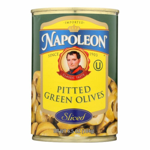 Napoleon Olives Sliced - Green - Case of 12 - 7 oz. Perspective: front