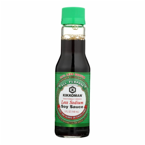 Kikkoman Soy Sauce - Less Sodium - Case of 12 - 5 oz. Perspective: front