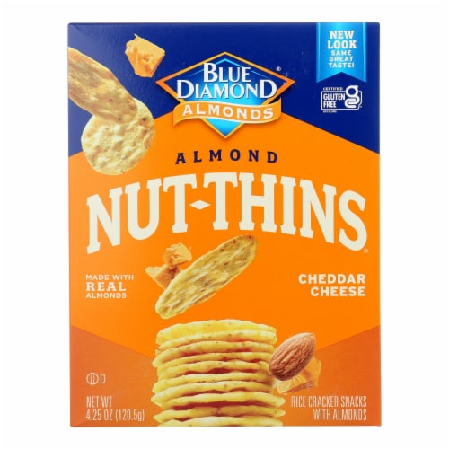 Blue Diamond - Nut Thins - Cheddar Cheese - Case of 12 - 4.25 oz. Perspective: front