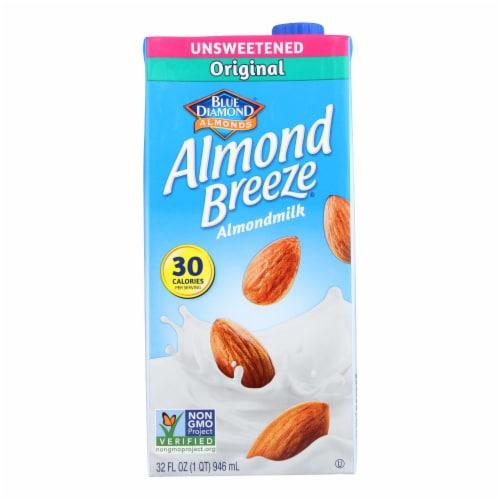 Almond Breeze - Almond Milk - Unsweetened Original - Case of 12 - 32 fl oz. Perspective: front