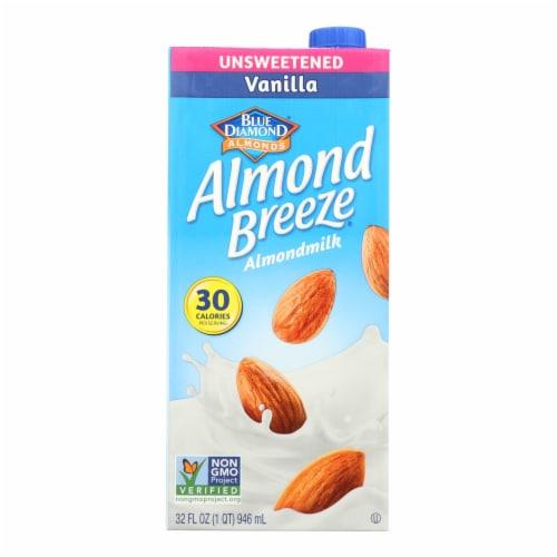 Almond Breeze - Almond Milk - Unsweetened Vanilla - Case of 12 - 32 fl oz. Perspective: front
