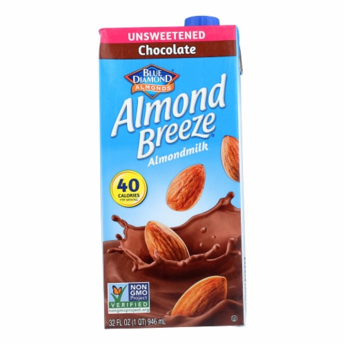 Almond Breeze - Almond Milk - Unsweetened Chocolate - Case of 12 - 32 fl oz. Perspective: front
