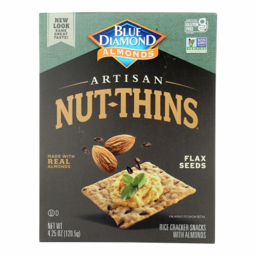 Blue Diamond - Artesion Nut Thins - Flax Seed - Case of 12 - 4.25 oz. Perspective: front