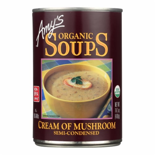 Amy's - Organic Cream of Mushroom Soup - Case of 12 - 14.1 oz Perspective: front