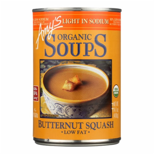 Amy's - Organic Low Sodium Butternut Squash Soup - Case of 12 - 14.1 oz Perspective: front