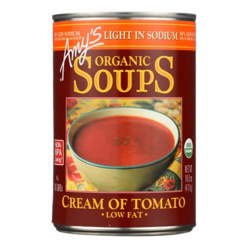 Amy's - Organic Low Sodium Cream of Tomato Soup - Case of 12 - 14.5 oz Perspective: front