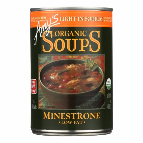 Amy's - Organic Low Sodium Minestrone Soup - Case of 12 - 14.1 oz Perspective: front