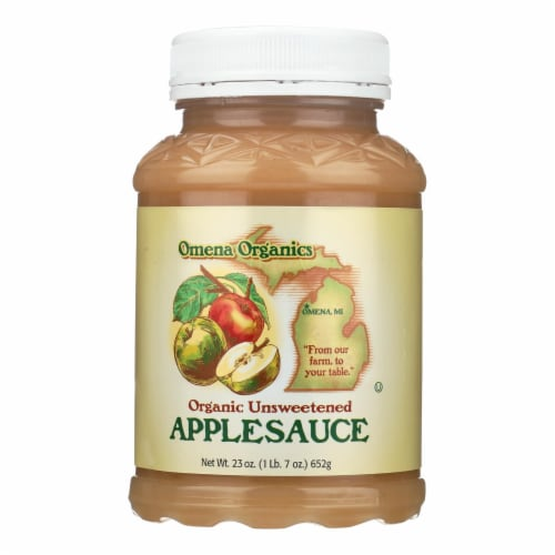 Omena Organics Apple Sauce - Organic - Unsweetend - Case of 12 - 23 oz Perspective: front
