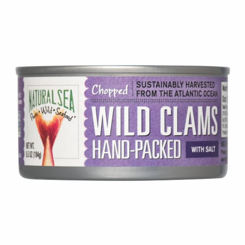 Natural Sea Wild Atlantic Surf Clams, Chopped - Case of 12 - 6.5 OZ Perspective: front