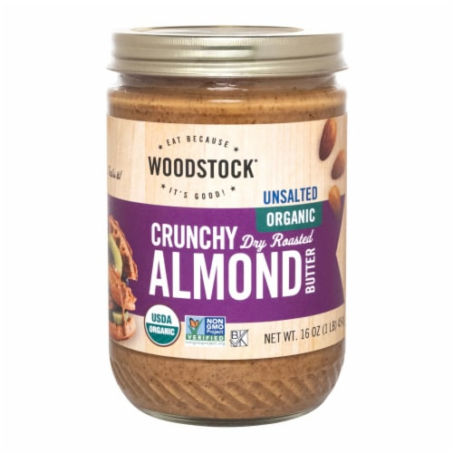 Woodstock Unsalted Organic Crunchy Dry Roasted Almond Butter - Case of 12 - 16 OZ Perspective: front