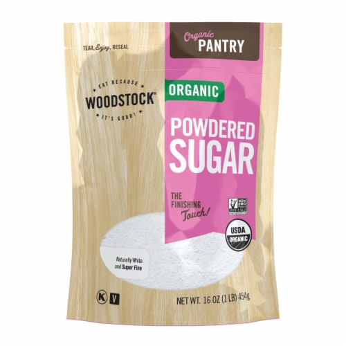 Woodstock Organic Powdered Sugar - Case of 12 - 16 OZ Perspective: front