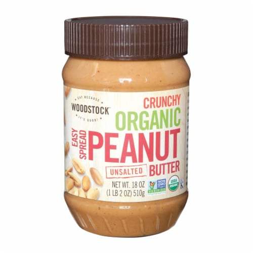 Woodstock Organic Unsalted Crunchy Easy Spread Peanut Butter - Case of 12 - 18 OZ Perspective: front