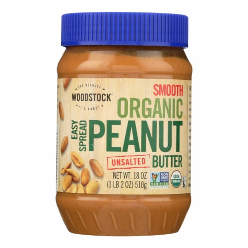 Woodstock Organic Unsalted Smooth Easy Spread Peanut Butter - Case of 12 - 18 OZ Perspective: front