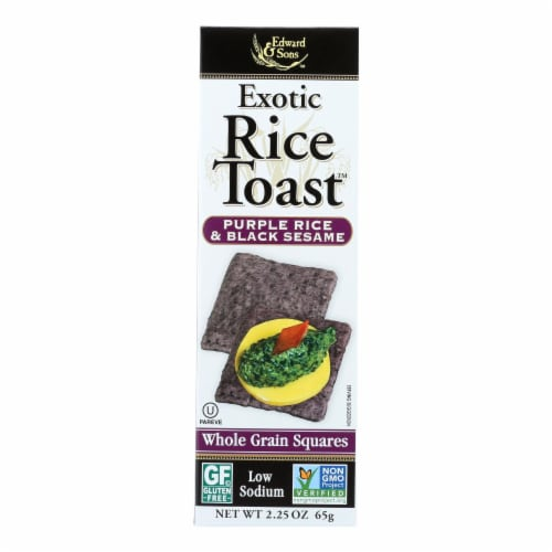 Edward and Sons Exotic Rice Toast - Purple Rice and Black Sesame - Case of 12 - 2.25 oz. Perspective: front