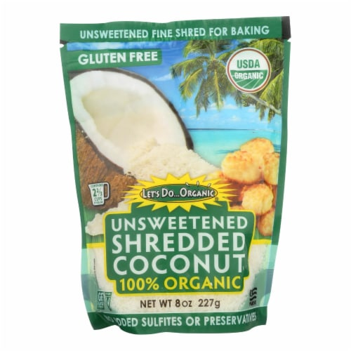 Let's Do Organics Organic Shredded - Coconut - Case of 12 - 8 oz. Perspective: front