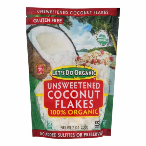 Let's Do Organics Coconut Flakes - Case of 12 - 7 oz. Perspective: front