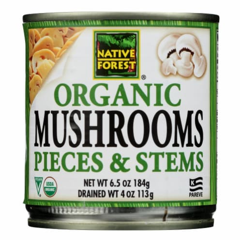 Native Forest Organic Mushrooms - Pieces and Stems - Case of 12 - 4 oz. Perspective: front