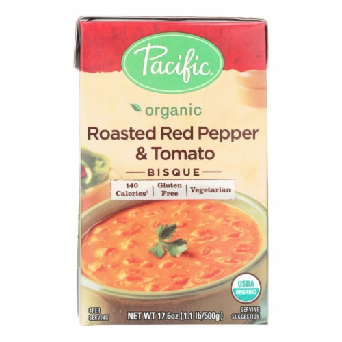 Pacific Natural Foods Bisque - Roasted Red Pepper and Tomato - Case of 12 - 17.6 oz. Perspective: front