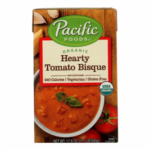 Pacific Natural Foods Bisque - Hearty Tomato - Case of 12 - 17.6 oz. Perspective: front