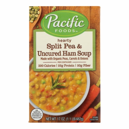 Pacific Natural Foods Uncured Ham Soup - Split Pea - Case of 12 - 17 oz. Perspective: front