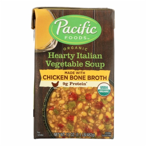 Pacific Natural Foods - Organic Italian Vegetable Soup Chicken Bone Broth - Case of 12 17 OZ Perspective: front