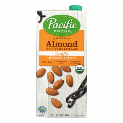 Pacific Natural Foods Almond Vanilla - Unsweetened - Case of 12 - 32 Fl oz. Perspective: front