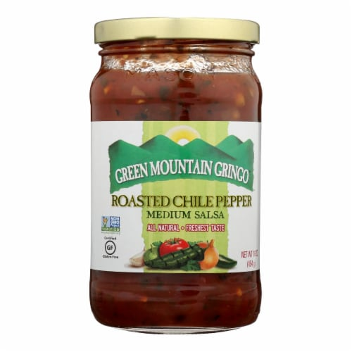 Green Mountain Gringo Roasted Salsa - Chile Pepper - Case of 12 - 16 oz. Perspective: front