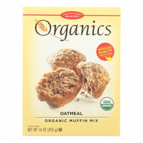 European Gourmet Bakery Organic Oatmeal Muffin Mix - Oatmeal - Case of 12 - 16 oz. Perspective: front