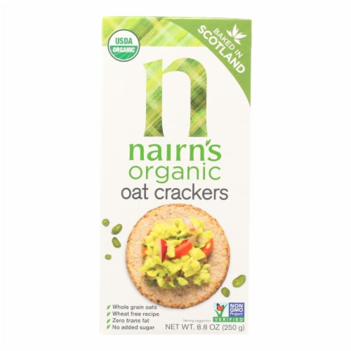 Nairn's Rough Cut Organic Oatcakes - Case of 12 - 8.8 oz. Perspective: front