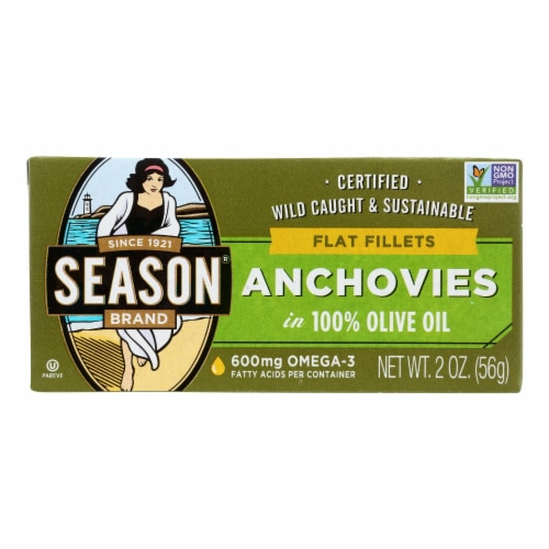 Season Flat Anchovies In Olive Oil - Case of 12 - 2 OZ Perspective: front