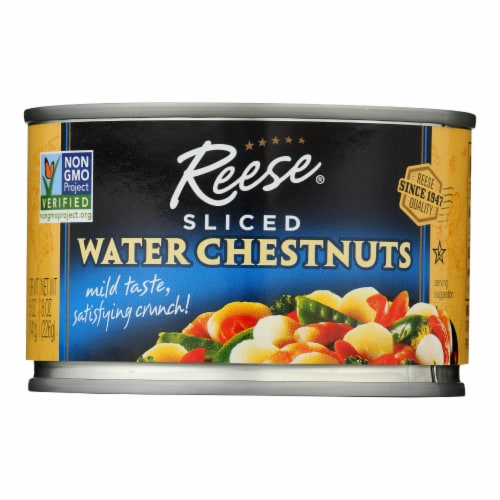 Reese Water Chestnuts - Sliced - Case of 12 - 8 oz. Perspective: front