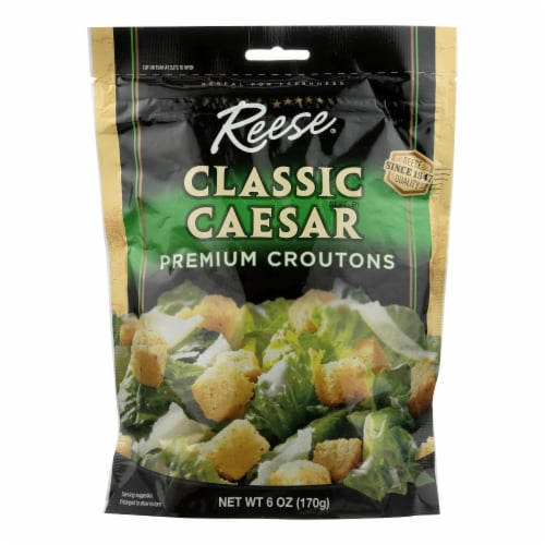 Reese Croutons Caesar Salad - Case of 12 - 6 oz. Perspective: front