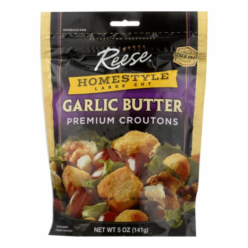 Reese Croutons Homestyle Garlic Butter - Case of 12 - 5 oz. Perspective: front