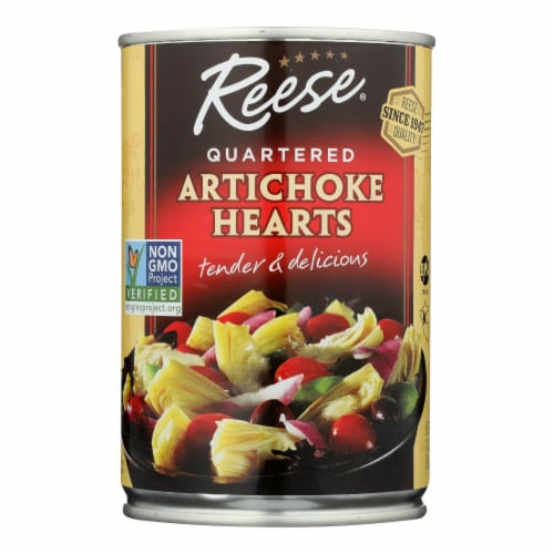 Reese Artichoke Hearts - Quartered - Case of 12 - 14 oz. Perspective: front