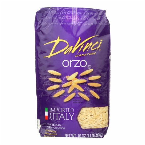DaVinci - Orzo Pasta - Case of 12 - 1 lb. Perspective: front