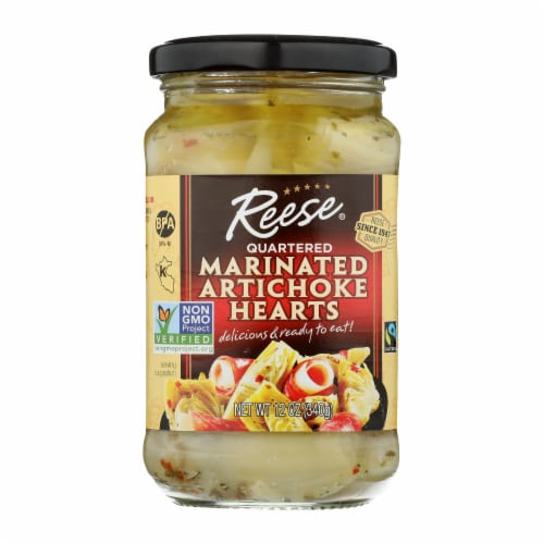 Reese Marinated Artichoke Hearts - Quartered - Case of 12 - 12 oz. Perspective: front