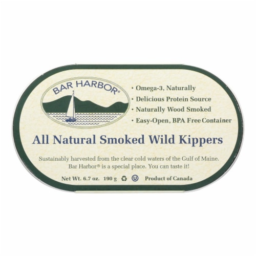 Bar Harbor - Smoked Wild Kippers - Case of 12 - 6.7 oz. Perspective: front