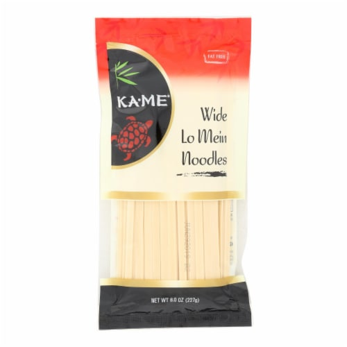 Ka'Me Wide Lo Mein Noodles - Case of 12 - 8 oz. Perspective: front
