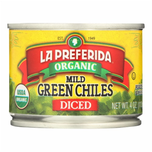 La Preferida Diced Tomatoes - Green Chilies - Case of 12 - 4 Fl oz. Perspective: front