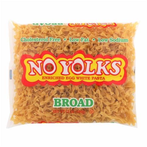 No Yolks - Enriched Egg White Pasta - Broad Noodles - Case of 12 - 12 oz. Perspective: front