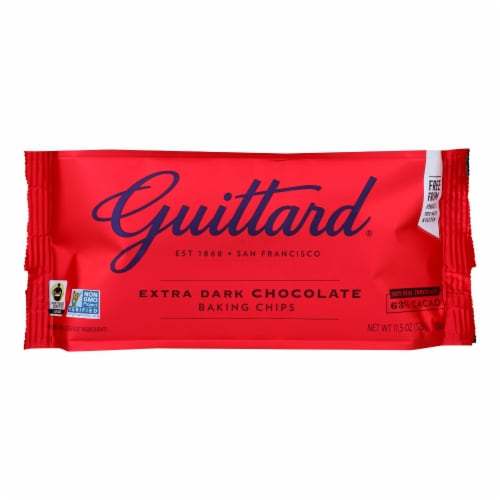 Guittard Chocolate Extra Dark - Chocolate Chip - Case of 12 - 11.5 oz. Perspective: front