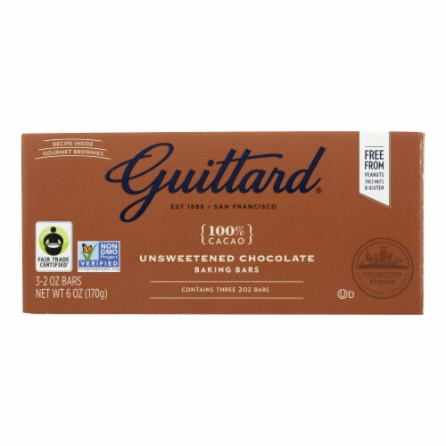Guittard Chocolate Baking - Unsweetened - Case of 12 - 2 oz. Perspective: front