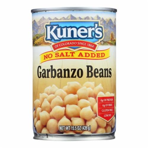 Kuner - Garbanzo Beans - No Salt Added - Case of 12 - 15 oz. Perspective: front