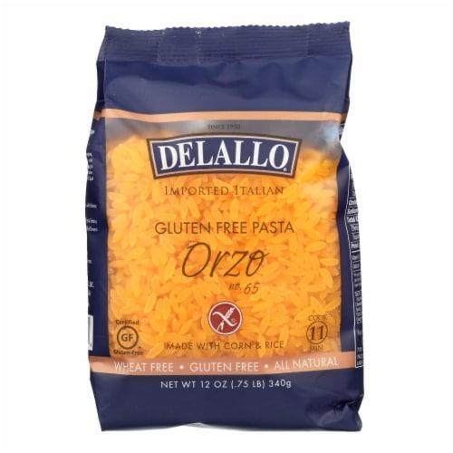 Delallo Gluten-Free Orzo Pasta  - Case of 12 - 12 OZ Perspective: front