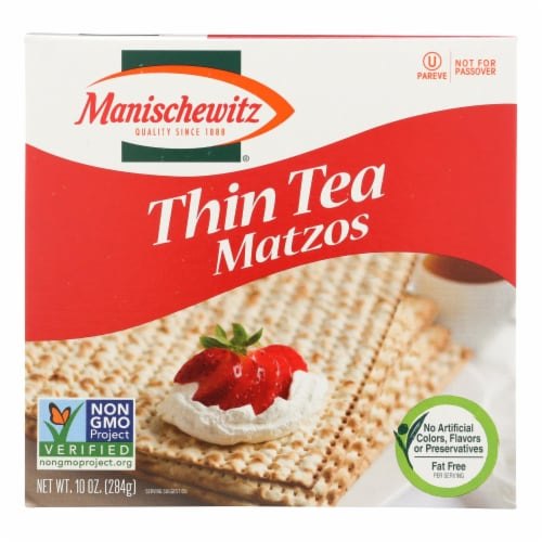 Manischewitz - Thin Matzo Tea Crackers - Case of 12 - 10 oz. Perspective: front