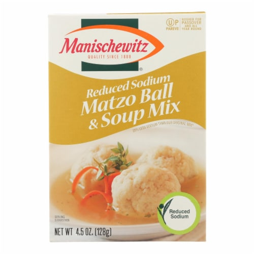 Manischewitz - Matzo Ball and Soup Mix - Low Sodium - Case of 12 - 4.5 oz Perspective: front