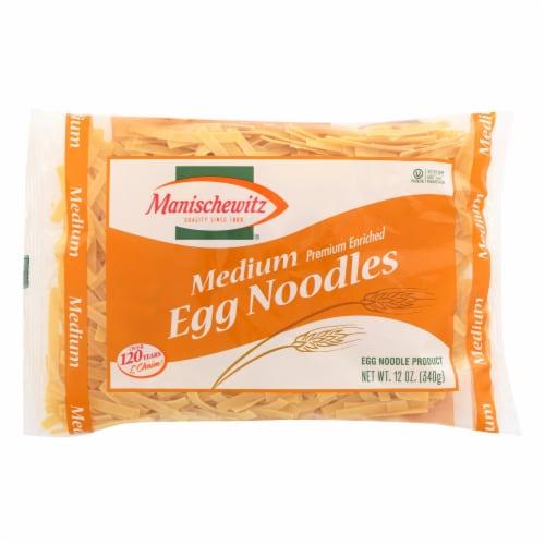 Manischewitz - Egg Noodles - Medium - Case of 12 - 12 oz. Perspective: front