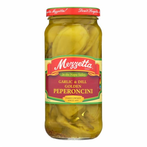 Mezzetta Garlic and Dill Golden Greek Pepperoncini - Case of 6 - 16 oz. Perspective: front