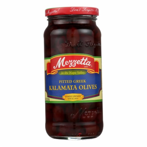 Mezzetta Pitted Greek Kalamata Olives - Case of 6 - 9.5 oz. Perspective: front