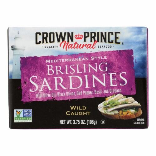 Crown Prince Brisling Sardines - Mediterranean Style - Case of 12 - 3.75 oz. Perspective: front